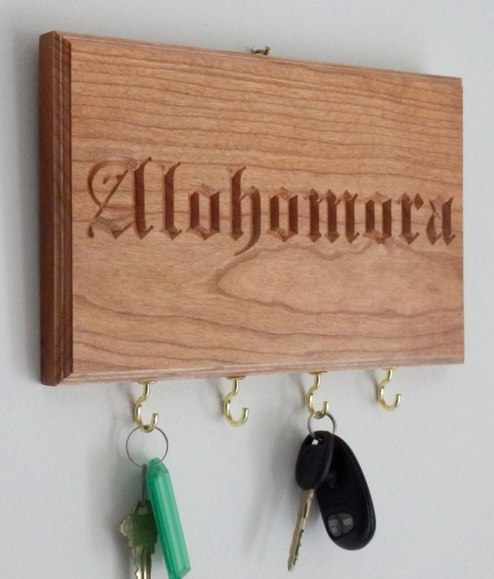 Alohomora Key Rack, $25.00Carved solid cherrywood with brass key hooks