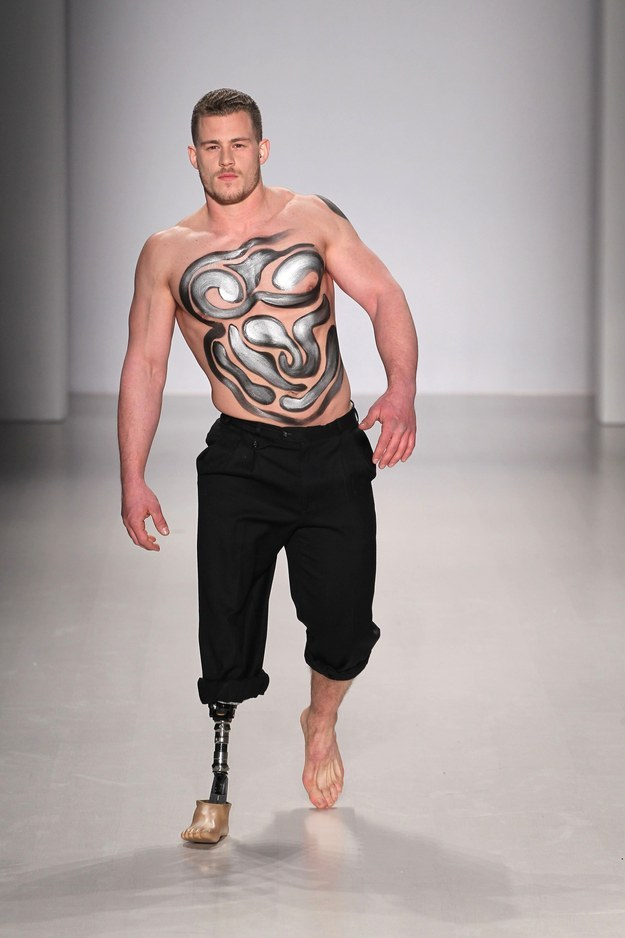 Jack Eyers was the world's first male amputee to walk on the NYFW catwalk.