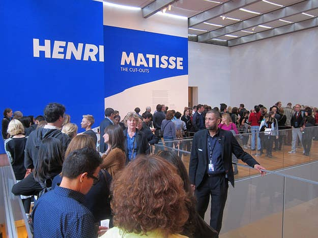 """After waiting in line for close to 40 minutes, I entered the exhibit on the 6th floor of MoMA with wide eyes and an overwhelming feeling of hope. If Matisse could create a life-changing movement on his death bed, then there is power within each of us to accomplish all we wish to do. At first, I was mesmerized by the art; the beauty of each cut, the accuracy of each placement, the mixture of colors-but then, I found myself mesmerized by something else-the reactions of the people. As I took my eyes off the art, and began to look around the room, I noticed so many different things, but all at once. There was the foreign couple who was clearly only there to see some """"famous"""" art, the kids from school trying desperately to rack up some extra credit points, a middle-aged couple who were very interested in the Museum's commentary of the art, and lastly, the most beautiful duo I have ever seen."""