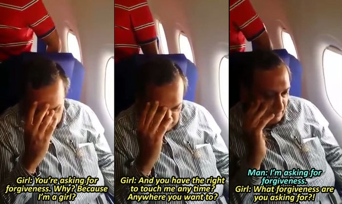 The alleged harasser is seen hiding his face throughout the video and asking for forgiveness, while others on the plane look on, queued up to disembark.