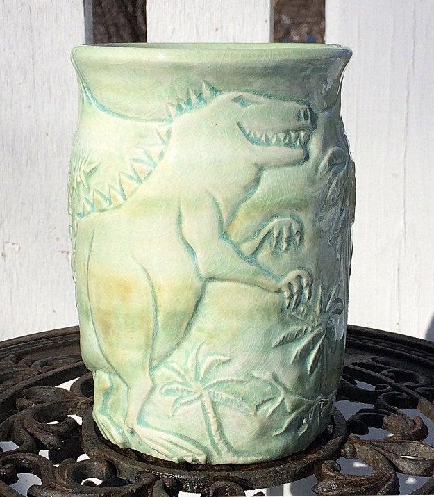 Hand-thrown and Hand-carved Porcelain Dinosaur Vase, $90.00
