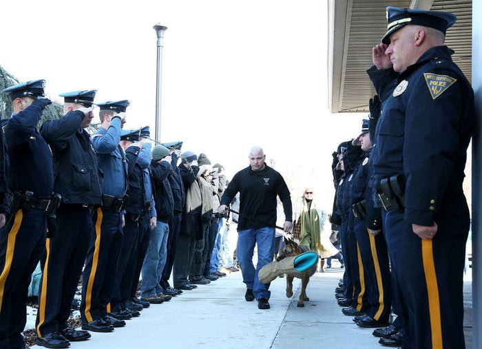 Corporal Michael Franks took the heartbreaking decision to put the 9-year-old German shepherd down after watching his health deteriorate.Gloucester County Online reported that Judge and Franks had worked together since 2007 and that the former was deployed over 280 times, helping arrest 152 people.