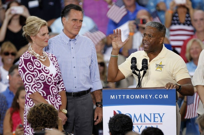 Former Rep. Allen West campaigns with Mitt Romney in 2012.
