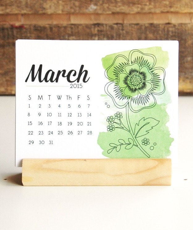 Watercolor Prints 2015 Desk Calendar with Handmade Recycled Wood Stand, $15.00
