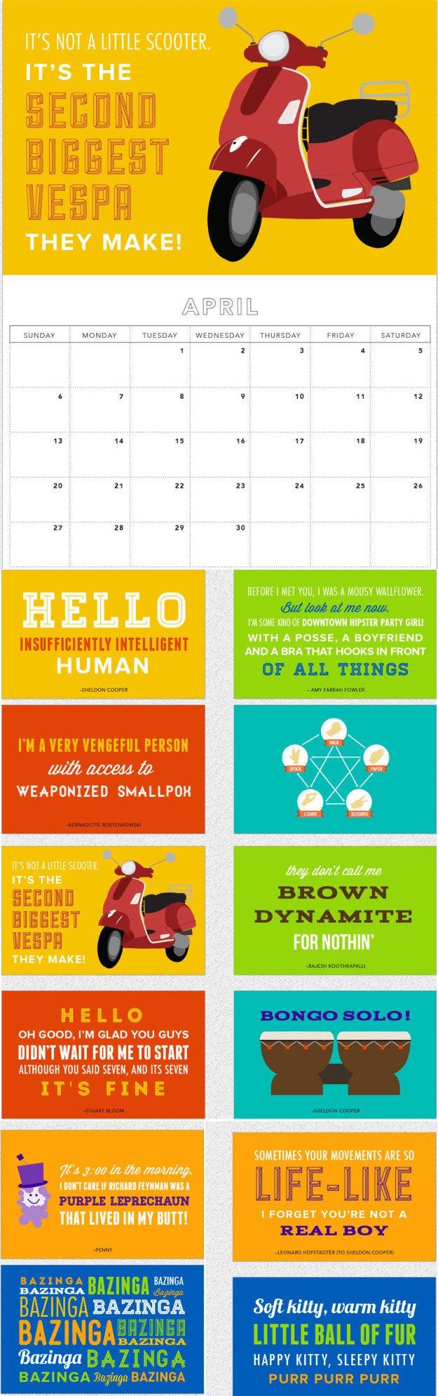 Big Bang Theory 2015 Wall Calendar, $13.60