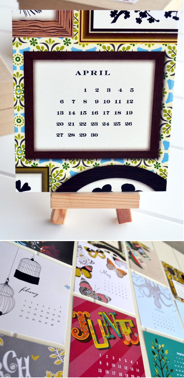 Eclectic 2015 Desk Calendar with Mini Natural Wood Display Easel, $10.00