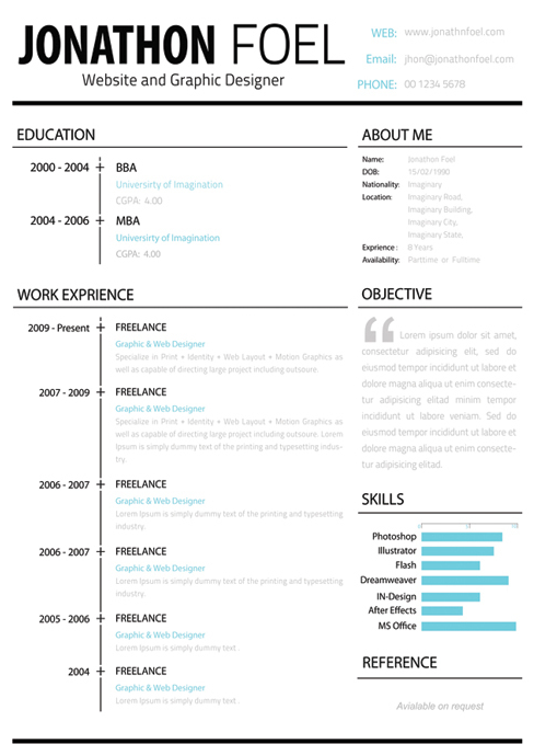 The Left Hand Side Of This Résumé Is All Business, While The Right Allows  You To Express Your Personality.