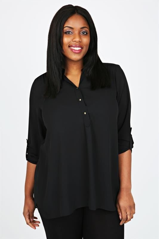 Yours Clothing Women/'s Plus Size Limited Collection Black Neon Pink Tape Top