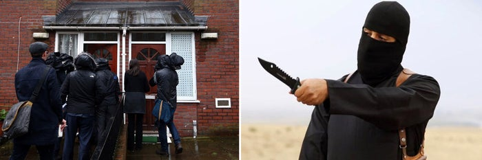 Media gathered outside Emwazi's reported London home on Thursday. At right, Emwazi in a recent ISIS video.