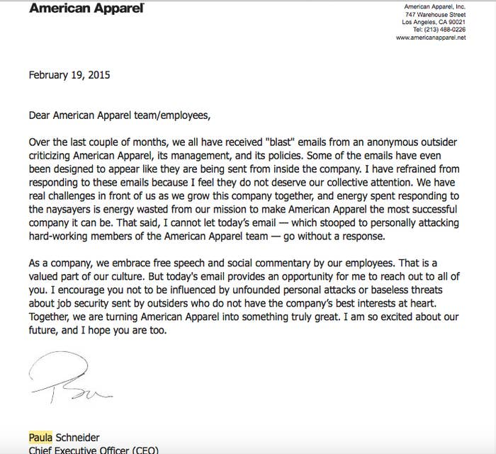 American Apparel CEO Fights Back A Pro-Dov Charney Email