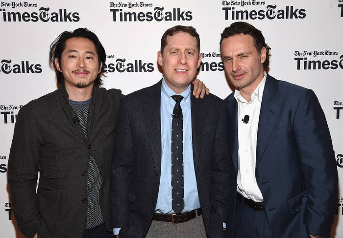 From left to right: Steven Yeun, executive producer-showrunner Scott M. Gimple, and Andrew Lincoln