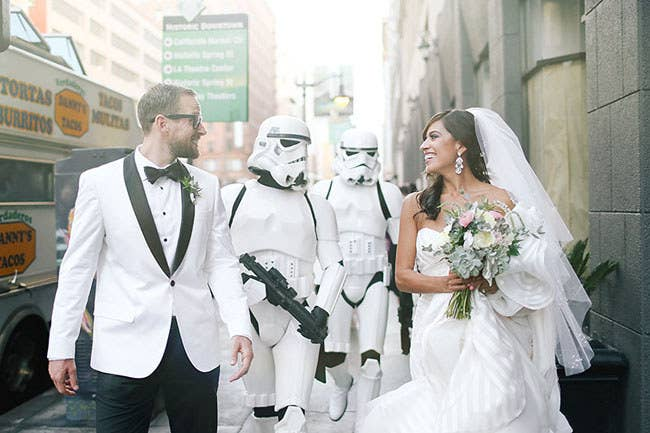"""The cherry on top for both of us was getting Stormtroopers from the 501st Legion to be a part of the wedding,"" she said. ""It was an absolute dream come true!"""