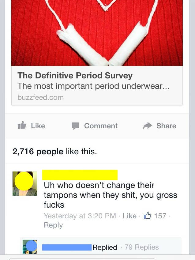 and when the question was later posed in a poll about period habits some people really took a stand