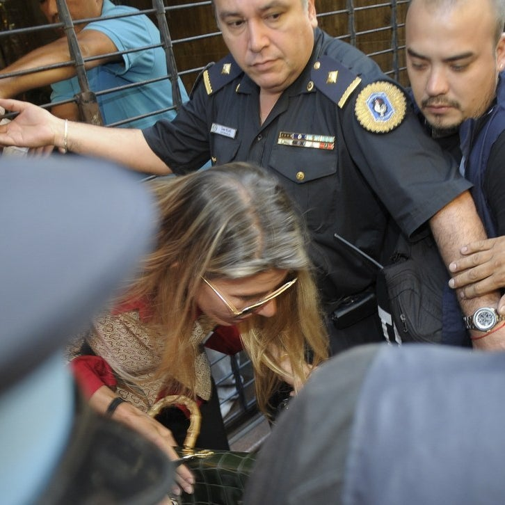 Sandra Arroyo Salgado leaves the prosecutor's office on Jan. 23.