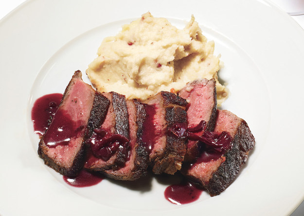 ... Seared Strip Steak with Red Wine Pan Sauce and Pink Peppercorn Butter