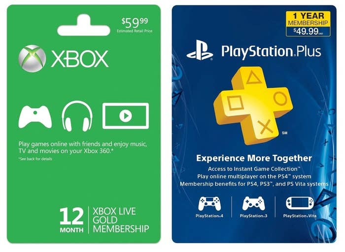 What's the fun of an Xbox One or PS4 if you can't play online with friends? As a great bonus, both Xbox Live Gold and Playstation Plus members get a few pre-selected games for free each month.Xbox Live 12 Month Gold Membership: $39.99 at Gamestop. 1 Year Playstation Plus Membership: $49.99 at Walmart. Next Level Option: Xbox Live $100 Gift Card, Playstation Plus $100 Gift Card