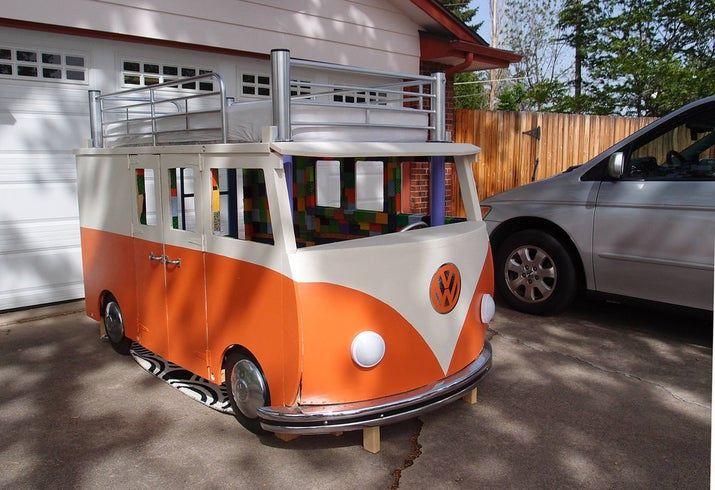 Coolest Bed Ever this dad built his daughter the coolest volkswagen bus bed you've