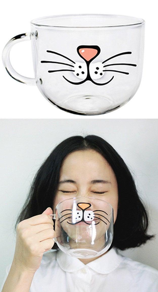 Cartoon Cat Mouth Glass Mug, $22.00