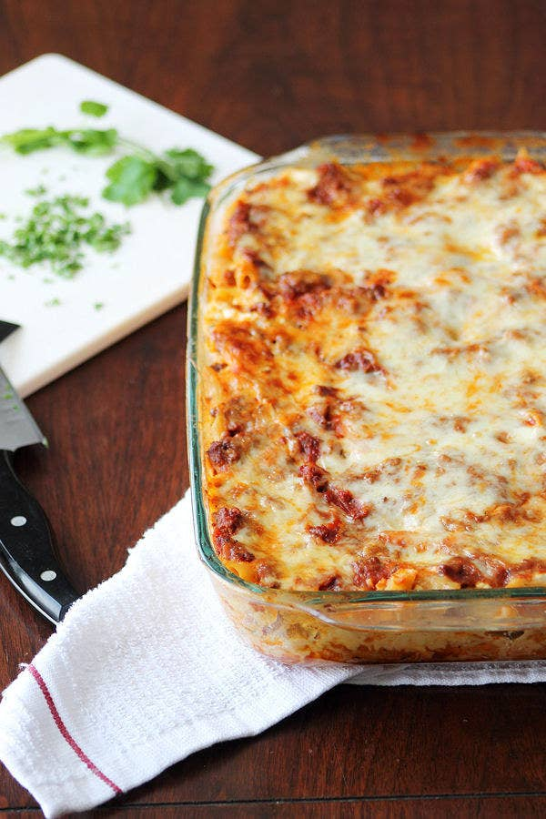 You could totally mix this up over the weekend, refrigerate, and pop into the oven on your busiest weeknight. Get the recipe.