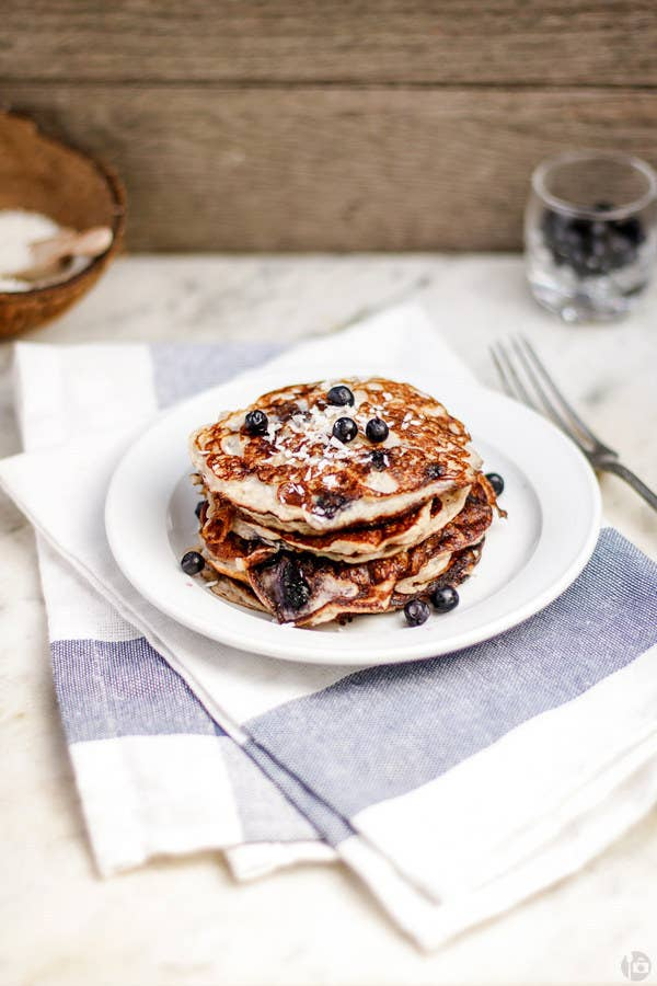 This recipe features banana and coconut. Like the tropical oasis of your pancake-y dreams.