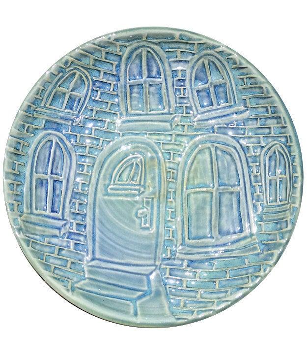 Hand-Carved Ceramic Porcelain Platter with Whimsical Brick Building Design, $90.00