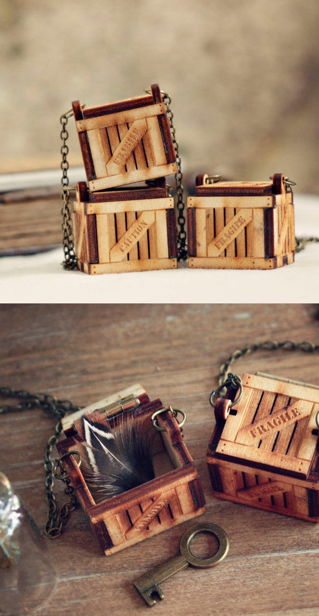 Little Wood Crate Locket, Personalized with Your Message, $35.40