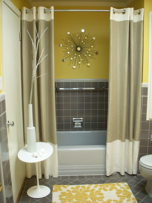 Shower Curtain Panels Make For A Far More Luxurious Bath Experience. For A  Tiny Bathroom