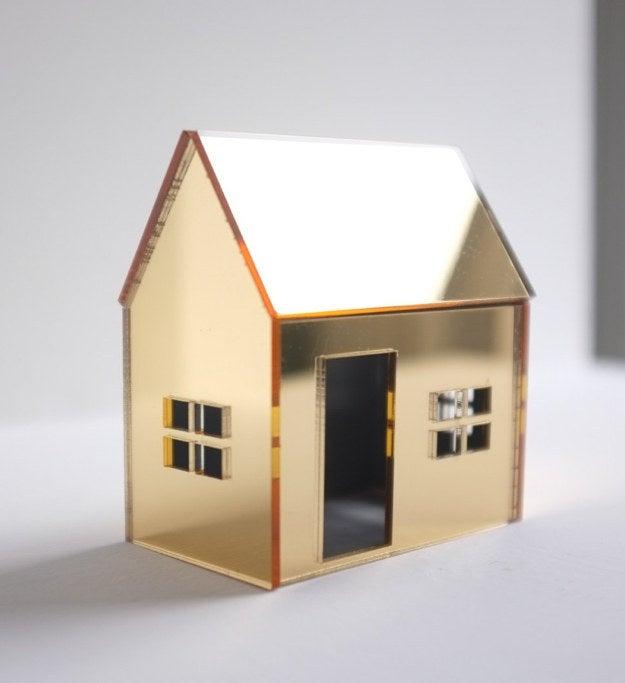 Miniature Gold Mirrored Acrylic House, $39.50
