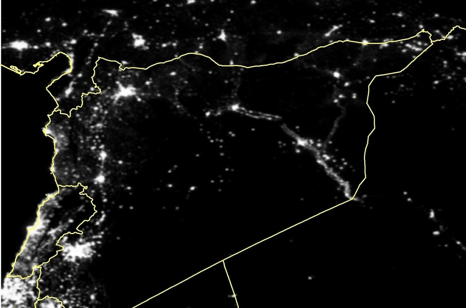 Average night lights in Syria in March 2011