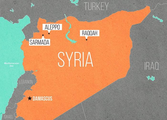 Auf der Karte sind die drei Städte zu sehen, in denen BuzzFeed News seine Gesprächspartner befragt hat. Jede Stadt wird von einer anderen Rebellengruppe kontrolliert. Die Hauptstadt Damaskus befindet sich in der Hand der Regierung.