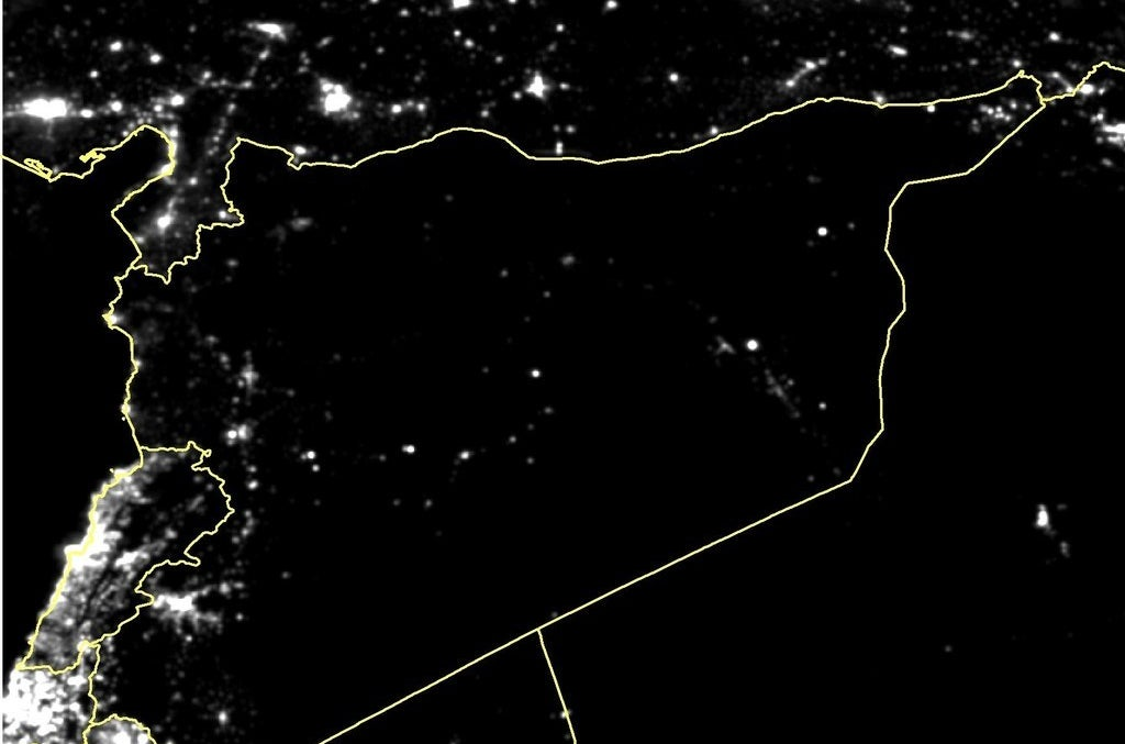 Average night lights in Syria in February 2015