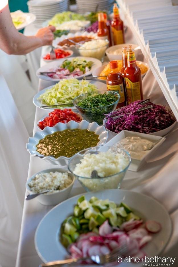 A salsa spread: