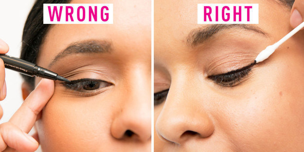 When applying liner, try not to pull the skin on the side of your face. If things get a little messy, clean up your line with a makeup remover-soaked cotton swab.