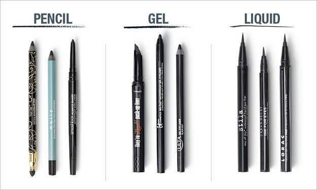 examples of pencil, gel, and liquid eyeliner