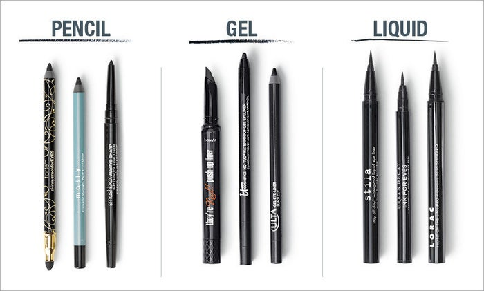 """Pencil eyeliner is easy to apply, but sometimes doesn't spread as smoothly or thickly as gel or liquid liners. Gel liners are matte and glide on easily. They sometimes come in a little pot with a brush. Liquid liners are used for their precision, and usually come in a tube with a small brush, or """"pen-style"""" with a brush tip. They can take some time to dry after applying, though.  Here's a bit more starter info on each of them, and here's an in-depth guide."""