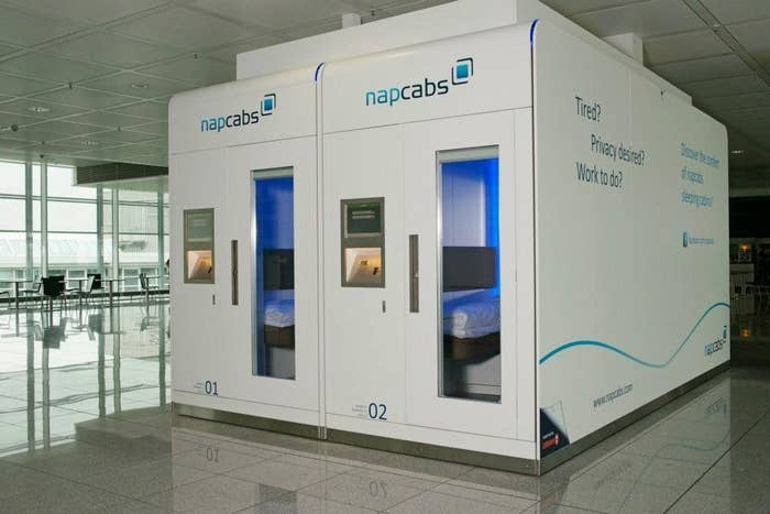 Charge up your mind, body, and electronics by renting out a Napcab at the Munch Airport. The private areas can be rented by the hour, include a bed, electricity, wifi, and television