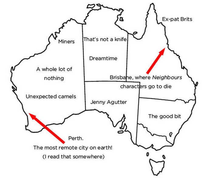 We Asked Brits To Label Australia And This Is Awkward - Brits label us map 2015