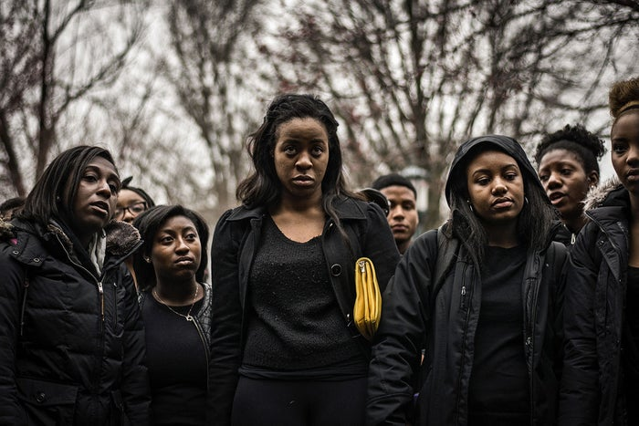 Students protest at the University of Virginia on March 20 after the arrest of student Martese Johnson outside a bar in Charlottesville, Virginia.