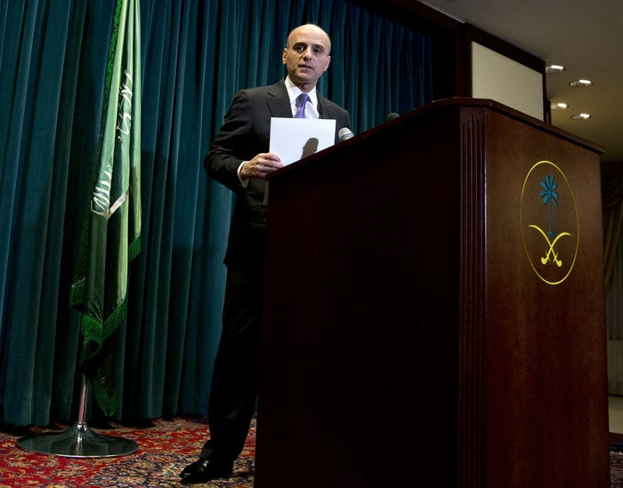 Saudi Arabian Ambassador to the United States Adel Al-Jubeir speaks during a news conference at the Royal Embassy of Saudi Arabia in Washington on Wednesday.