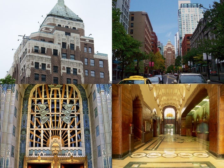 The marine building is a skyscraper located near the financial district features art deco details and