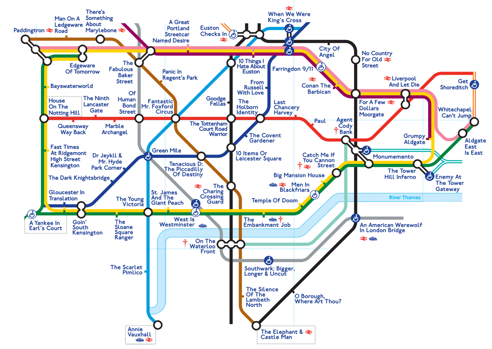 The Movie Pun Map Of London – Tube Map Central London