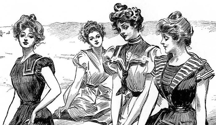 """The """"Gibson Girl"""" style, based on the illustrations of Charles Dana Gibson, was characterized by a curvy, athletic silhouette, fashionable sportswear, and curled hair piled high atop her head."""