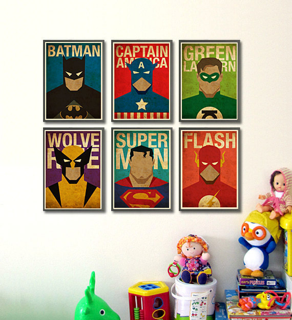 decorate your kid 39 s walls with these vintage minimalist superhero