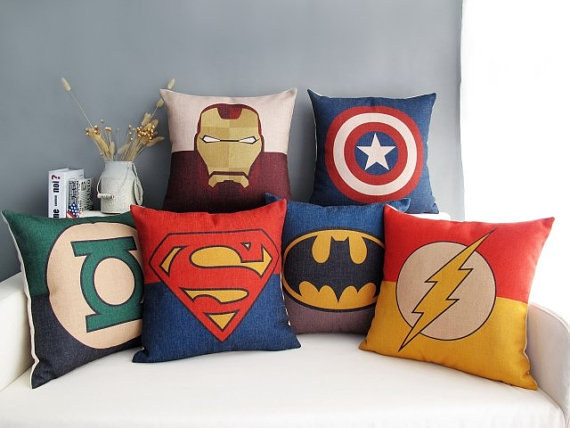 These Pillows Are The Perfect Final Touch For A Superhero Themed Bed.