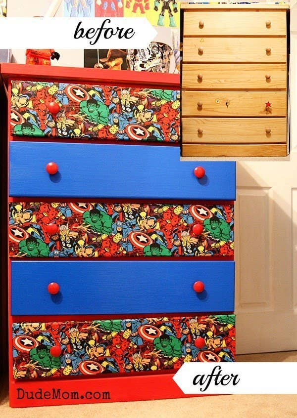 DIY an old dresser into a superhero themed one using Marvel Comics fabric. 23 Ideas For Making The Ultimate Superhero Bedroom