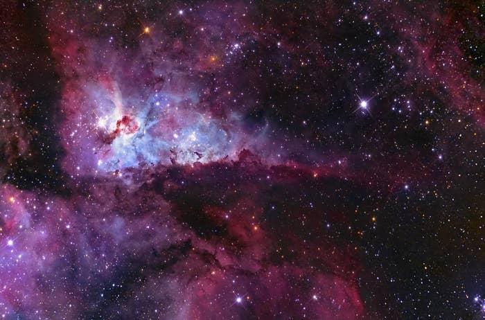 Glowing gas cloud of Carina Nebula.