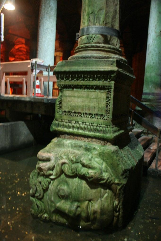 Medusa head in Istanbul's Basilica Cistern.