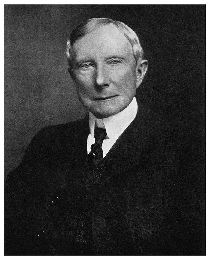 Dropping out of high-school just two months before graduation, Rockefeller began working as an assistant bookkeeper and ultimately went on to found Standard Oil. Considered one of (if not the) richest American in history, his net worth at his death in 1937 was $1.5 billion.