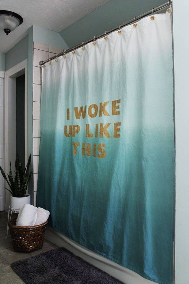 Belt Your Best Beyonce Impression Behind A Stenciled Lyric Shower Curtain