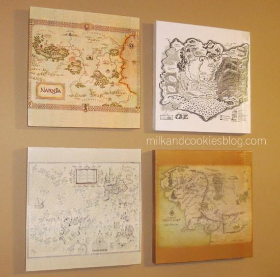 Usted sólo necesita papel, una impresora, Mod Podge, y un trozo de madera para hacer su propio arte de mapa libro de fantasía